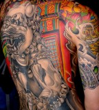 Colorful Foo Dog Tattoo Designs Back to Upperarm