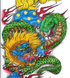 Foo Dog And Serpent Tattoo Design