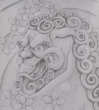 Foo Dog Black And White Tattoo Ideas
