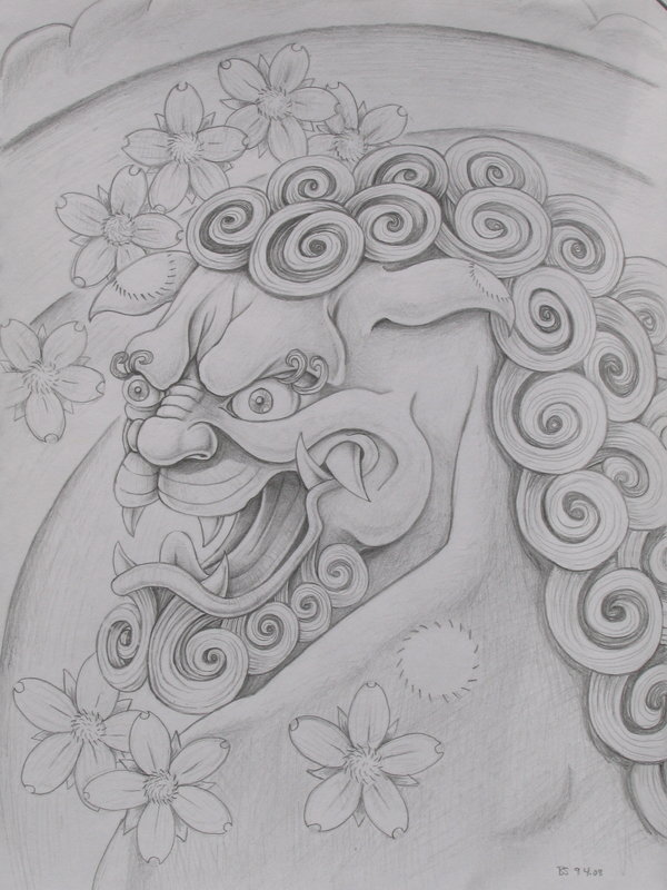 fu Dog Tattoo Designs Black White Foo Dog Black And White Tattoo