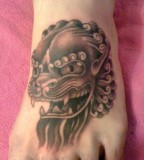 Foo Dog Tattoo On Foot