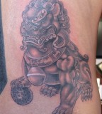 Foo Dog Tattoo Realistic Design