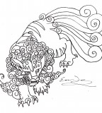 Foo Dog Temporary Tattoo Sketch