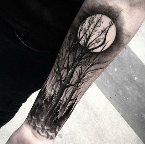 forrest and moon tattoos for men