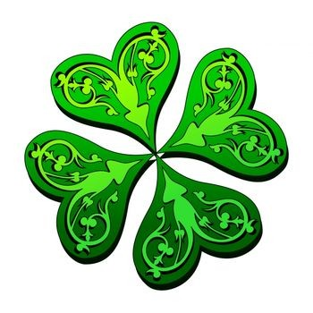 Art Illustration of a Four Leaf Clover With Luck O'- the Irish Text
