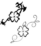 Black-White Four Leaf Clover Design for Tattoo
