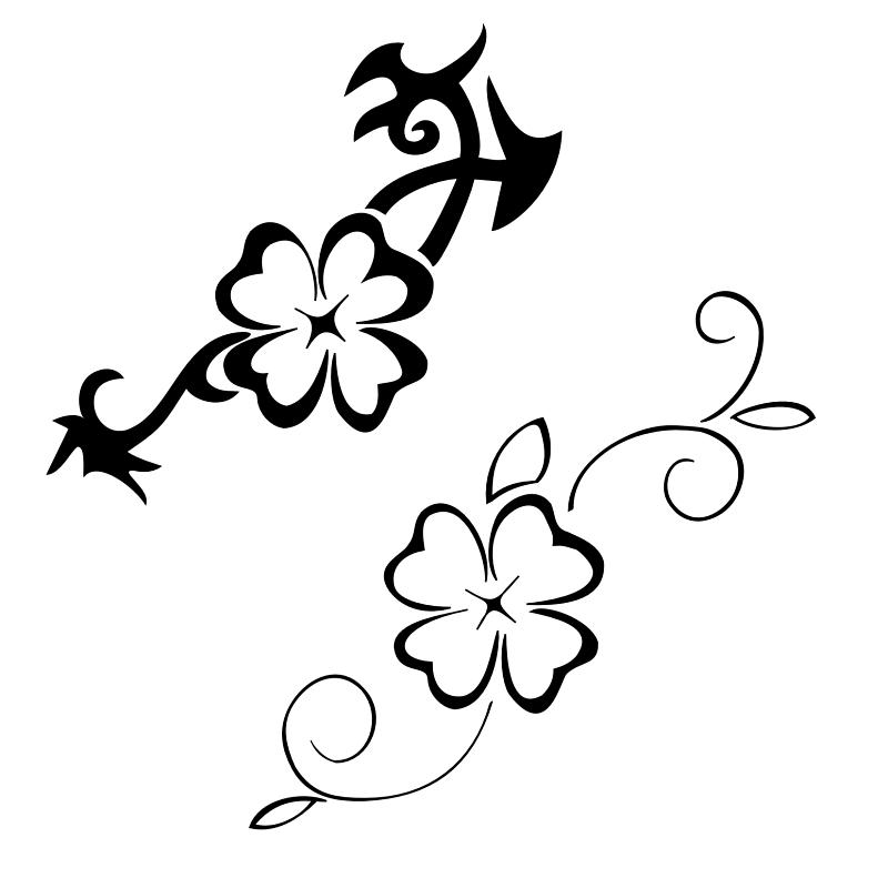 Black-White Four Leaf Clover Design for Tattoo