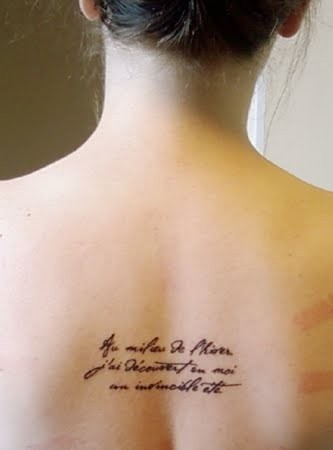 French quote tattoo on back tattoomagz for French quote tattoos