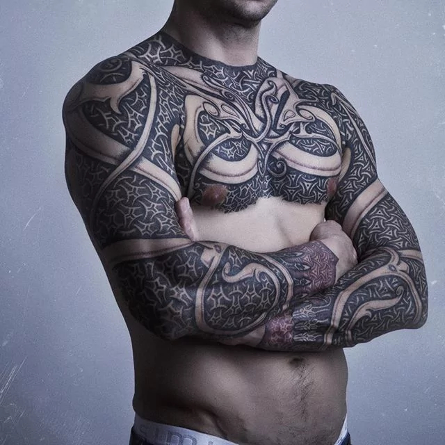 full chest and double full sleeve tribal tattoo