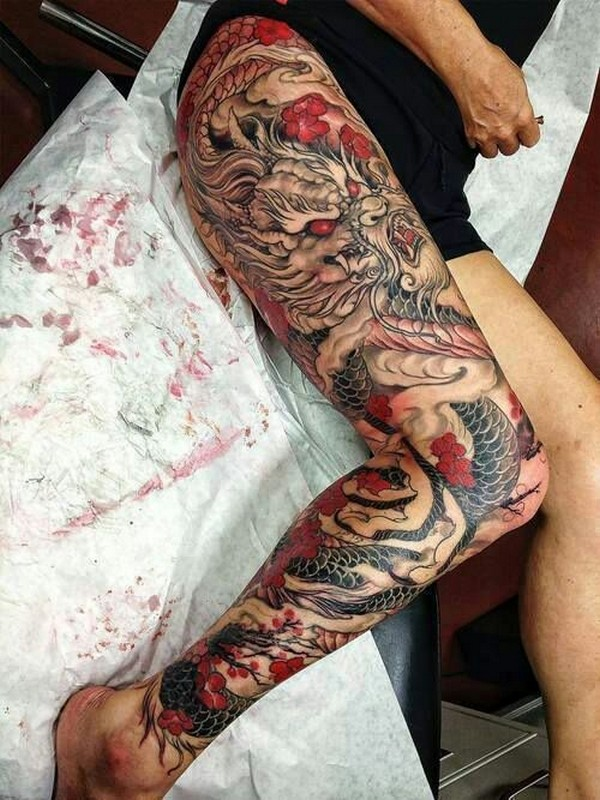 full leg sleeve japanese dragon tattoos for men