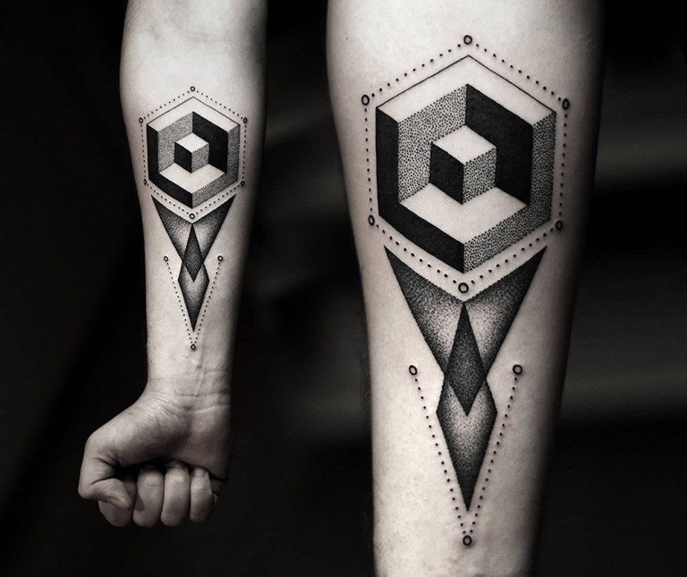 geometric arm tattoos for men