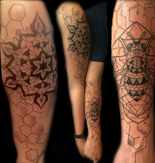 geometric couple tattoo