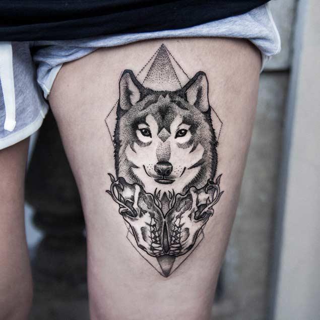 geometric-dotowork-wolf-tattoo