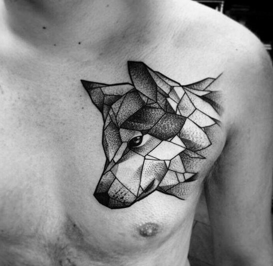 geometric-shaded-wolf-tattoo