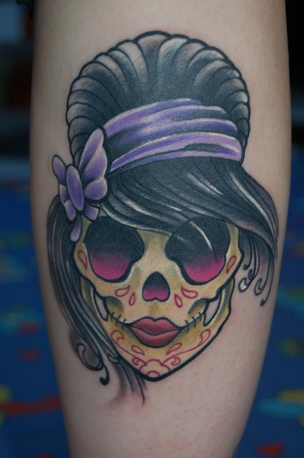 Girly Sugar Skull Done In Black Pearl Tattoo Tattoomagz