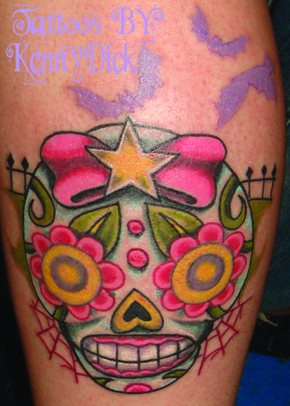 Skull Hand Tattoo Color