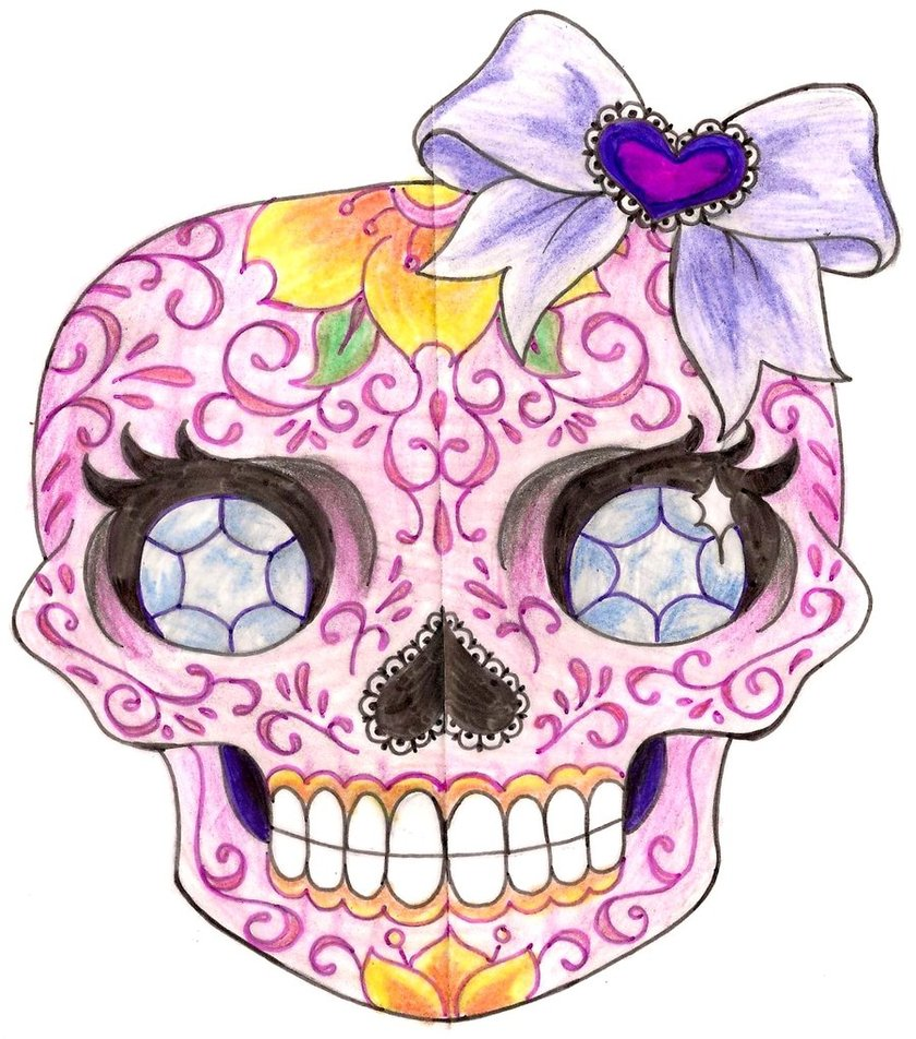 Girly Sugar Skull Tattoo Designs