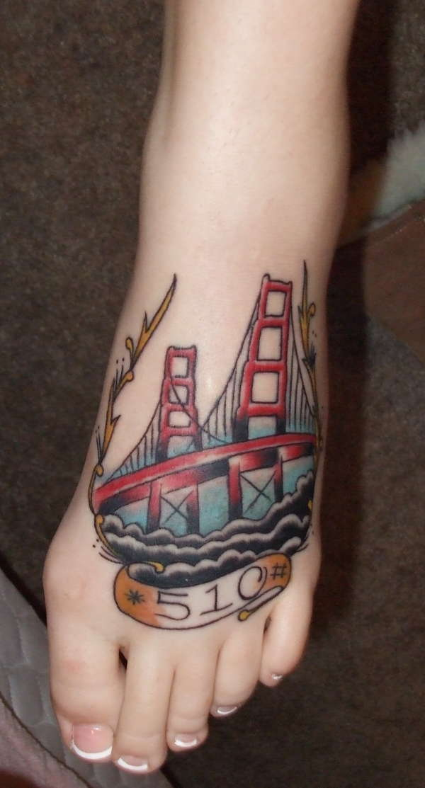 stunning san francisco golden gate bridge foot tattoo