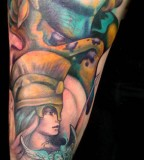 Colorful Awesome Athena Sketch Tattoo Ideas
