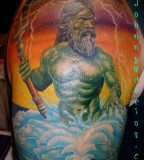 Stylish Greek Mythology Shoulder Tattoo Design For Men