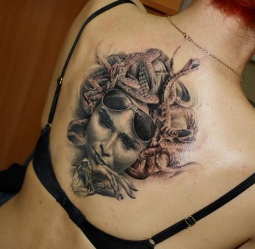 Terrific Chic Medusa Upper Back Tattoo Ideas For Girls