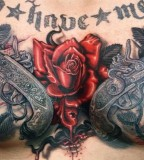 Body Art Tattoo Design - Chest Tattoo - Guns and Roses Tattoo
