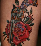 Gun Rose Tattoo Body Art Picture