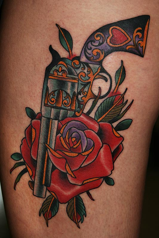gun rose tattoo body art picture tattoomagz. Black Bedroom Furniture Sets. Home Design Ideas