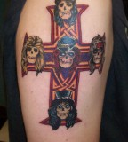Guns And Roses Cross Tattoos