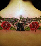 Guns N Roses Tattoo - Upper Back Body Art Tattoo Design