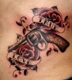 Lettering Tattoo with Guns and Roses
