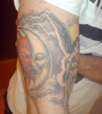 Awesome moon dance tattoo in black color by christmas time for Half sun half moon tattoo