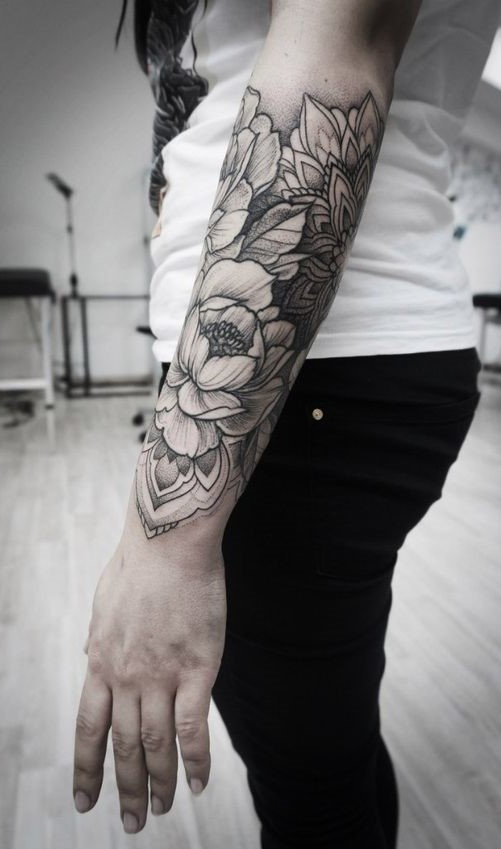 half sleeve flower tattoo