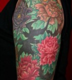 Original Half Sleeve Oriental Flower Tattoo