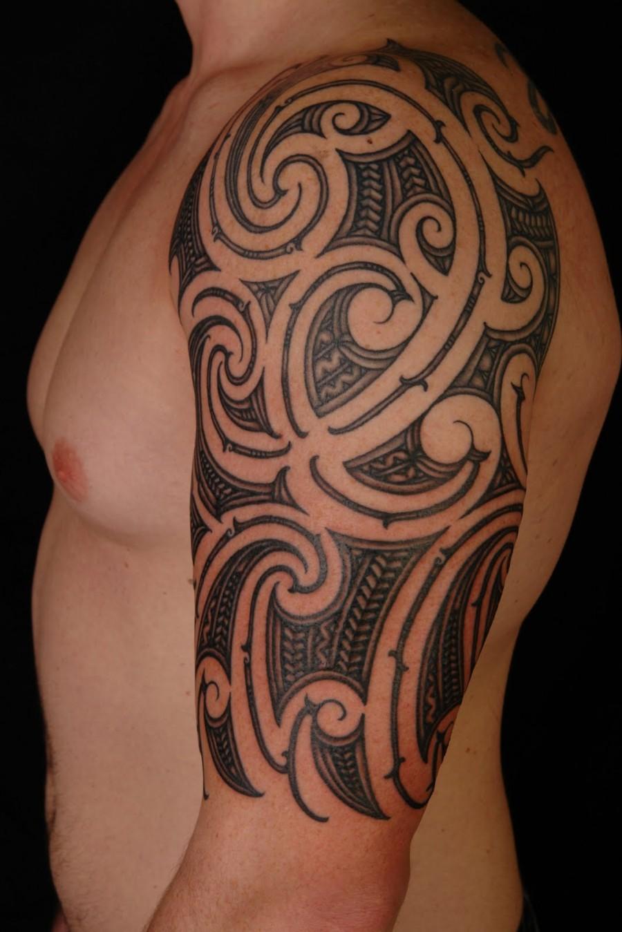 exotic half sleeve tattoo for cool man. Black Bedroom Furniture Sets. Home Design Ideas