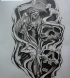 Skulls Half Sleeve Tattoo Design