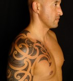 Wonderful Maori Shoulder Half Sleeve Tattoo