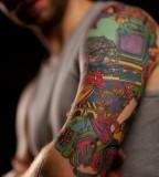 Colorful Half Tattoo Design for Men