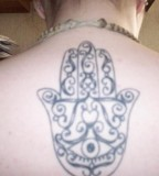 Hamsa Hand Back Tattoo