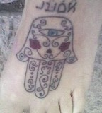 Hamsa Hand Tattoo on Foot Design