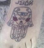 Hamsa Hand Tattoo on Foot Design
