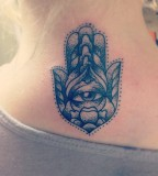Cool Hamsa Hand Neck Tattoo