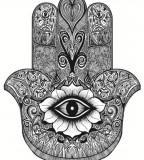 Spiritual Hamsa Hand Tattoo Design Idea