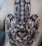 Flower Formed Hamsa Hand Tattoo
