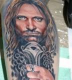 Artistic Aragorn Portrait Tattoo by Hannah Aitchison