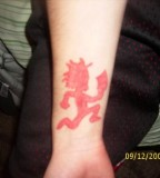Wrist Red Hatchet Man Tattoo