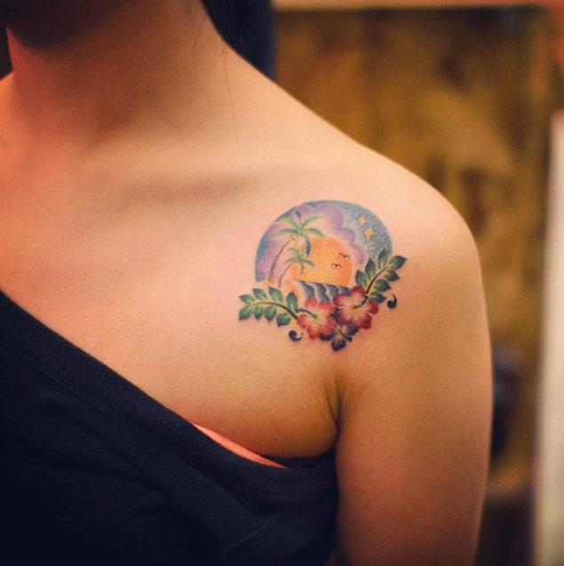 hawaii-shoulder-tattoo