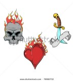 Splendid Flaming Skull Flaming Heart And Dagger Tattoos