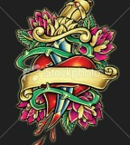 Inspired Heart and Dagger Tattoo Illustration Inspiration Photo