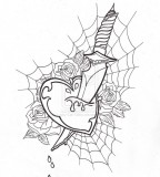 New Skool Heart Dagger By Lucky Cat Tattoo in Black and White Color